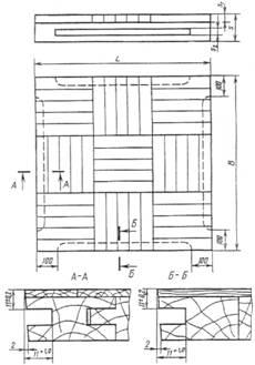 государственный стандарт союза ссризделия паркетныещиты паркетные госттехнические условия 862.4-87floor parquct products.parquet panels. specifications дата введения 01.07.87настоящий стандарт распространяется на паркетные щиты, предназначенные для устройства полов в жилых и общественных зданиях.1. типы и основные размеры1.1. паркетный щит состоит из паркетных планок, квадратов шпона или фанерной облицовочной плиты, которые наклеены с определенным рисунком на основание.1.2. в зависимости от конструкции основания паркетные щиты подразделяются на типы:пщ1 - с рамочным основанием в виде обвязки, угловые шиповые соединения которой должны быть выполнены на клею, и реек заполнения, закрепляемых в пазах брусков обвязки на прямой несквозной шип по гост 9330 (черт. 1). тип пщ1  1 - планки лицевого покрытия; 2 - рейки основания; 3 - бруски рамки (обвязки) основания